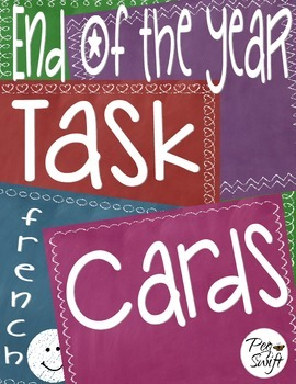 Memory Book Task Cards ~ French ~ Chalkboard