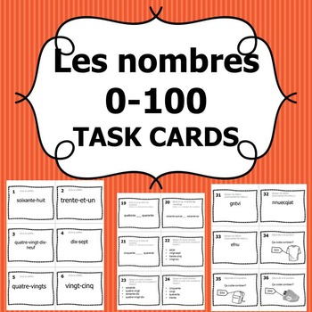 Task Cards - French Numbers 0-100