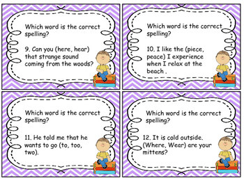 Task Cards Frequently Misused Words Homophones