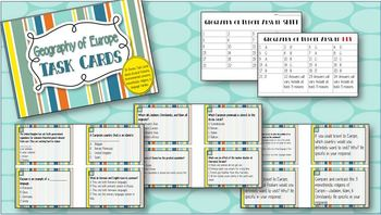 Task Cards -- Geography of Europe