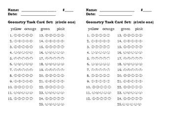 Task Cards - Geometry