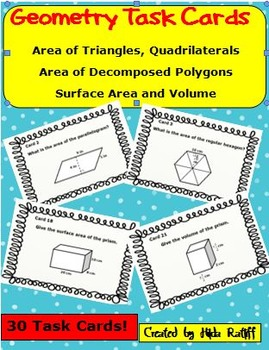 Task Cards - Geometry - Area of Polygons and Volume