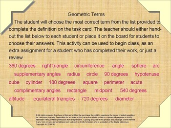 Task Cards Geometry Basics