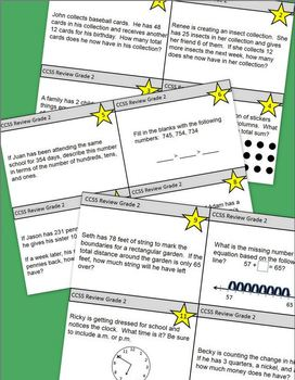 2nd Grade Task Cards - Grade 2 Common Core Math Review