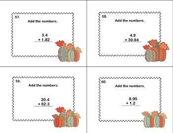 Task Cards-Grade 5- Adding Decimals to Hundredths-CCSS.Math.Content.5.NBT.B.
