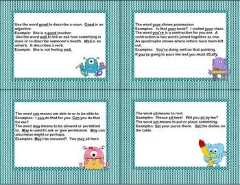 Task Cards- Grammar Monsters Grades 3-5
