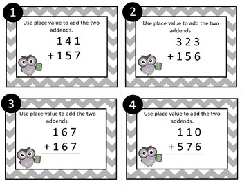 Task Cards Gray Chevron: 3 Digit-Addition with Regrouping (Place Value to add)