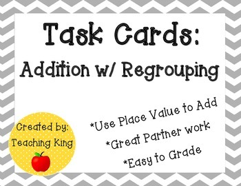 Task Cards Gray Chevron: 3 Digit-Addition with Regrouping