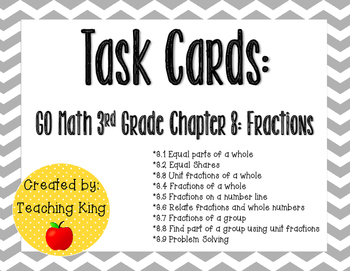 Task Cards Gray Chevron: GO Math Third Grade Chapter 8 Fractions Review