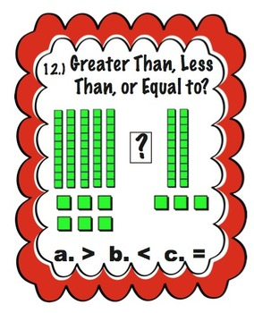 Task Cards Greater Than, Less Than or Equal To - Base Ten Blocks Ones & Tens