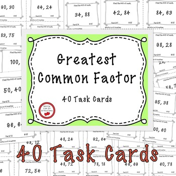 Free Download Greatest Common Factor Task Cards