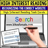 "Task Cards HIGH INTEREST READING Website Internet Search ""Task Box Filler"""