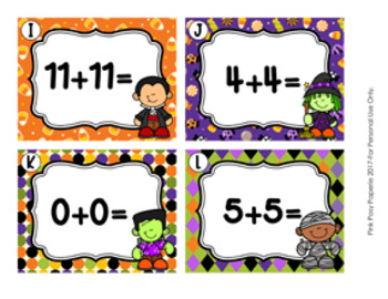 Task Cards Halloween Addition Doubles and Doubles Plus One