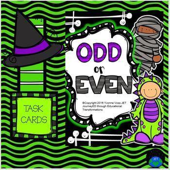 Task Cards Halloween Odd or Even