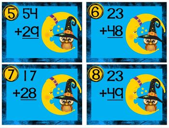 Task Cards Halloween Owl and Moon Double Digit Addition with Regrouping