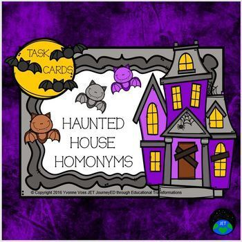 Task Cards Haunted House Homonyms