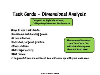Task Cards - Dimensional Analysis - High School Science and Math