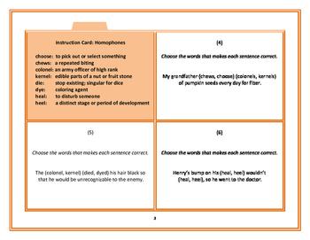 Task Cards: Homophones