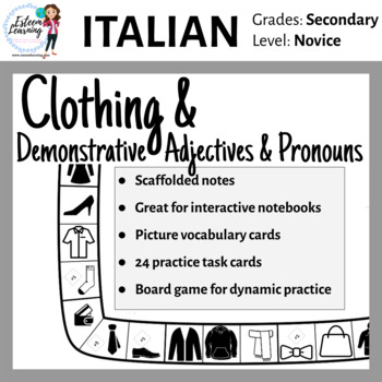 Task Cards, INB Notes & Game for Clothing, Demonstrative Adj./Pron. in Italian