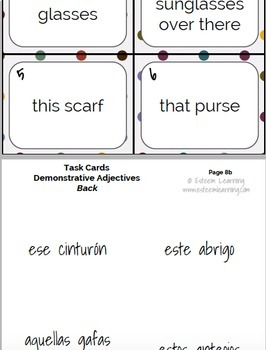 Task Cards, INB Notes & Game for Clothing, Demonstrative Adj./Pron. in Spanish