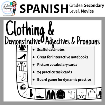 Task Cards, INB Notes & Game for Clothing, Demonstrative A