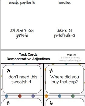Task Cards, INB Notes & Game for Clothing, Demonstrative Adjectives in French