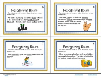 Task Cards  Parts of Speech Recognizing Nouns CCSS