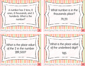 Task Cards: Identifying Place Value and Value to Six Digits