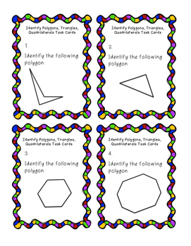 Task Cards: Identifying and Classifying Polygons, Quadrilaterals, Triangles