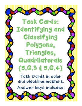 Task Cards: Identifying and Classifying Polygons, Quadrila