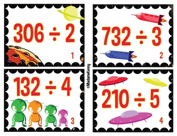 Task Cards In French:Vite Vite Division 3 Chiffres Par 1 Chiffre Sans Reste