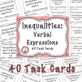 Solving Inequalities Verbal Expressions 40 Task Cards Grea