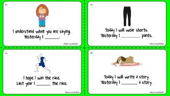 Task Cards Irregular and Regular Past Tense Verbs