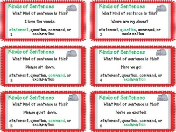"FREEBIE!!! Task Cards - ""Kinds of Sentences"""