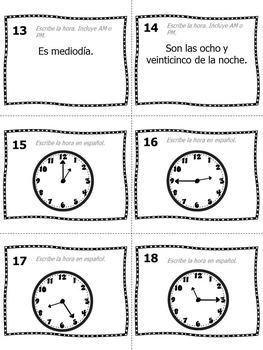 Task Cards - La Hora (Telling Time in Spanish)