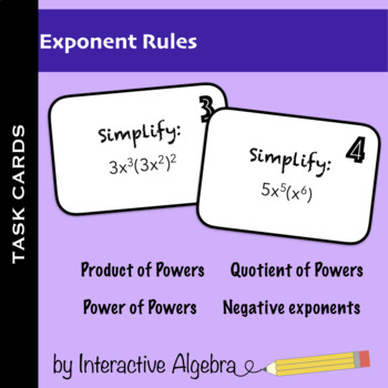Task Cards: Laws of Exponents