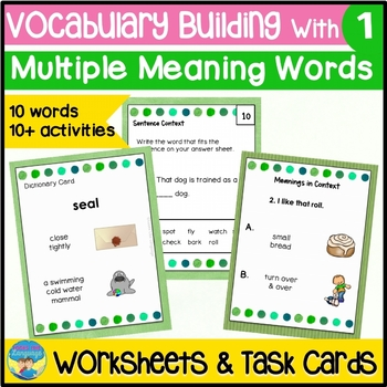 Homonyms: Picture Task Cards and Worksheets: Learning Multiple Meanings A