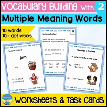 Homonym Picture Task Cards & Worksheets for Learning Multiple Meanings 2