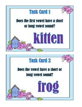 Short and Long Vowel Sounds - Task Cards