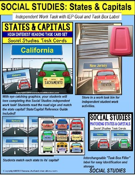 "Task Cards  MATCHING STATES and CAPITALS ""Task Box Filler"" for Special Education"