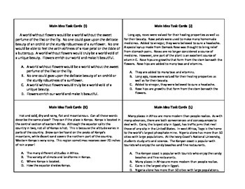 Task Cards- Main Idea for Upper Elementary and Middle School