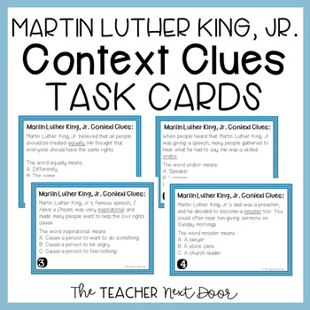 Task Cards: Martin Luther King, Jr. Context Clues for 3rd