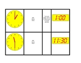 Task Cards Matching Digital to Analog Time Half and Whole Hours