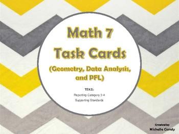 Task Cards - Math 7 Geometry, Data, & PFL (RC 3-4 TEKS)