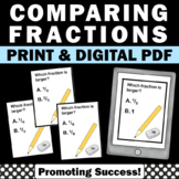 50 Comparing Fractions Task Cards, 3rd Grade Math Review Games SCOOT
