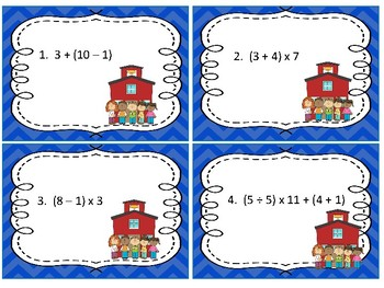 Task Cards Math; Evaluating Numerical Expressions