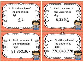 Task Cards Math; Find the Value of the Underlined Digit