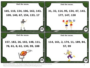 Find the Mean Task Cards, Probability Activities, Find the Average Game SCOOT