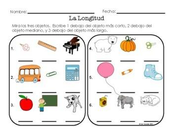 spanish math measurement kindergarten task cards and worksheets tpt. Black Bedroom Furniture Sets. Home Design Ideas