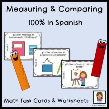 Spanish Math Measurement Kindergarten Task Cards and Worksheets